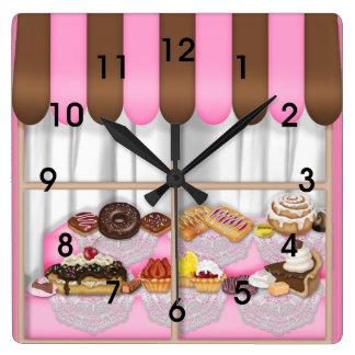 Cute Pink Brown Cupcake Sweet Bakery Square Wall Clock