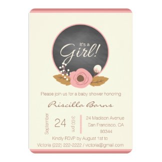 Cute Pink Brown Flower It's a Girl Baby Shower Card