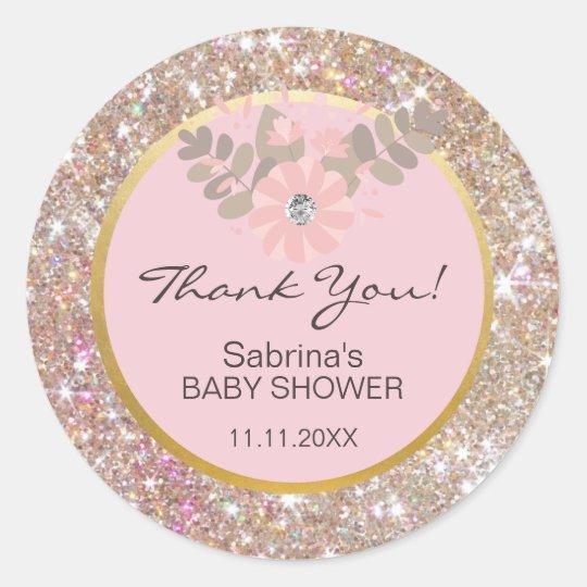Cute Pink, Brown, Glitter Gold Baby Shower -