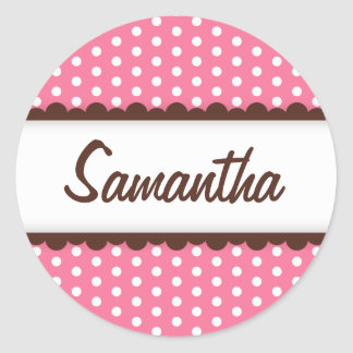 Cute pink brown polka dots name tag for girls round sticker