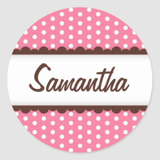 Cute pink brown polka dots name tag for girls round stickers