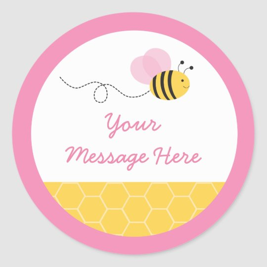 Cute Pink Bumble Bee Baby Shower Classic Round