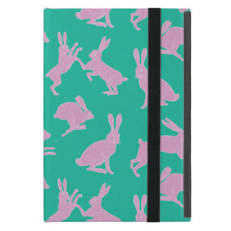 Cute Pink Bunnies on Green Background Ipad Stand Cover For iPad Mini