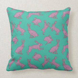 Cute Pink Bunnies on Green Pillow