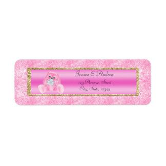 Cute Pink Bunny Baby Shower Return Address Label
