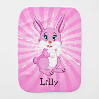 Cute Pink Bunny Cartoon Burp Cloth