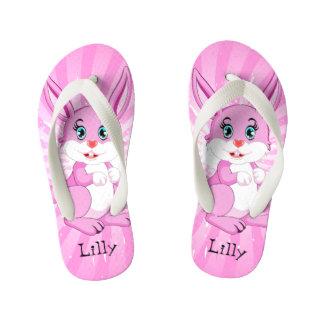 Cute Pink Bunny Cartoon Kid's Flip Flops