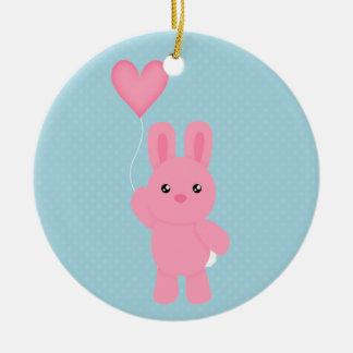 Cute Pink Bunny Christmas Ornament