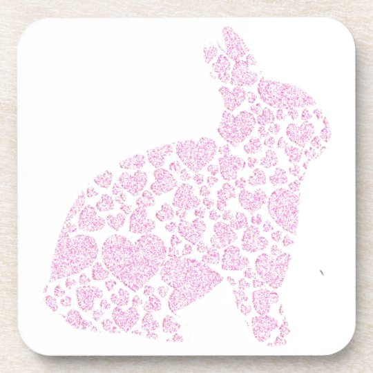 Cute Pink Bunny Coaster Set