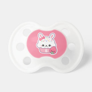 Cute Pink Bunny Cupcake Monogram Dummy