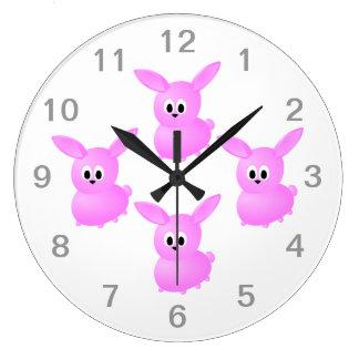 Cute Pink Bunny Rabbit. Wall Clocks