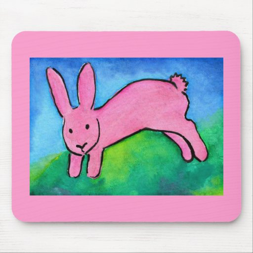 Cute Pink Bunny Rabbit Mouse Pad