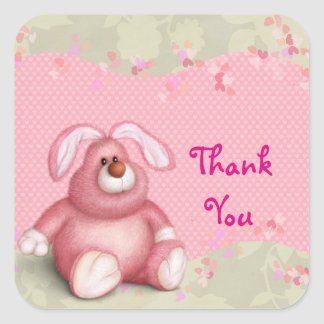Cute Pink Bunny with Hearts Thank You Square Sticker