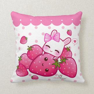 Cute pink bunny with kawaii strawberries throw pillows