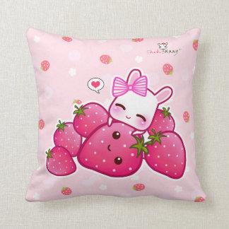 Cute pink bunny with kawaii strawberries cushion