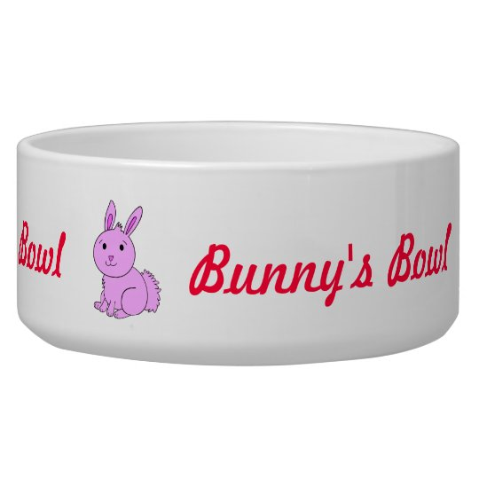 Cute Pink Bunny's Pet Bowl