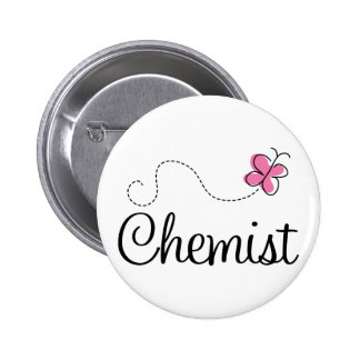 Cute Pink Butterfly Chemist 6 Cm Round Badge