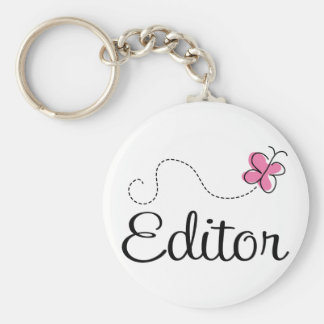 Cute Pink Butterfly Editor Basic Round Button Key Ring