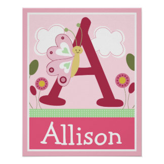 Cute Pink Butterfly Girl Letter & Name Wall Poster