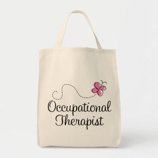 Cute Pink Butterfly Occupational Therapist Tote Bag