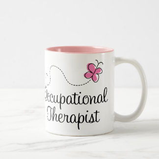 Cute Pink Butterfly Occupational Therapist Two-Tone Coffee Mug