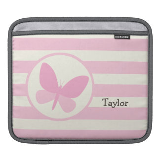 Cute Pink Butterfly on Retro Stripes iPad Sleeves