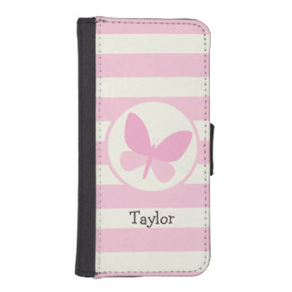 Cute Pink Butterfly on Retro Stripes iPhone SE/5/5s Wallet Case