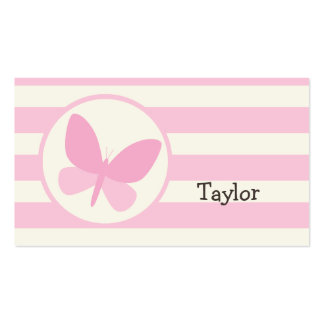 Cute Pink Butterfly on Retro Stripes Pack Of Standard Business Cards