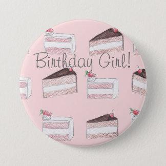 Cute pink cake pattern birthday girl pin