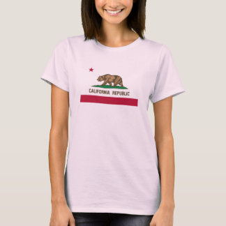 Cute pink California bear flag t shirt for women