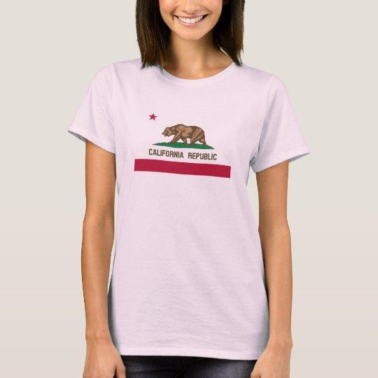 Cute pink California bear flag t shirt for