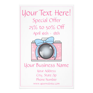Cute Pink Camera with Blue Bow Personalized Flyer