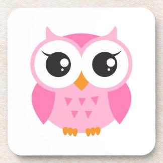 Cute pink cartoon baby owl beverage coaster