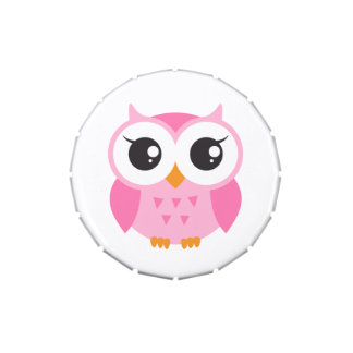 Cute pink cartoon baby owl jelly belly candy tins