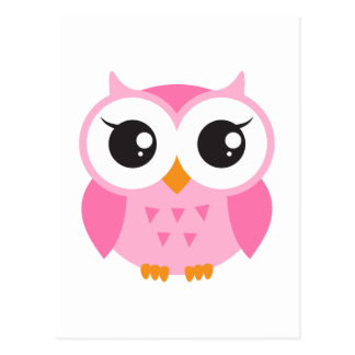 Cute pink cartoon baby owl postcard