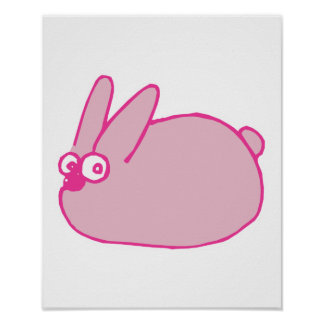 cute pink cartoon bunny rabbit poster