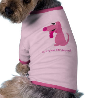 Cute Pink Cartoon Dog Is It Time For Dinner? Ringer Dog Shirt