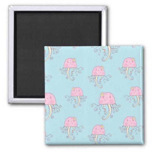 Cute Pink Cartoon Jellyfish Pattern Refrigerator Magnets