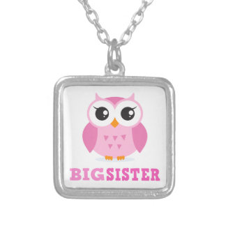 Cute pink cartoon owl girly big sister necklace