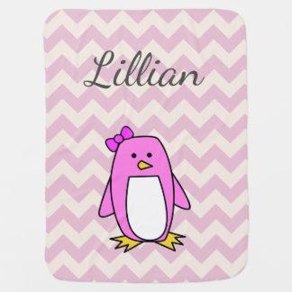 Cute Pink Cartoon Penguin Baby Blanket