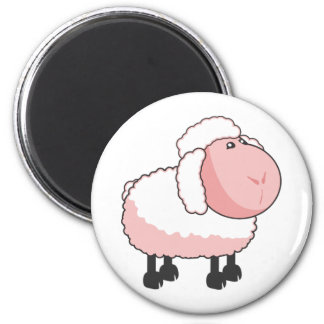 Cute Pink Cartoon Sheep 6 Cm Round Magnet