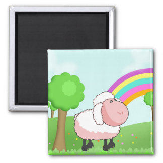 Cute Pink Cartoon Sheep Square Magnet