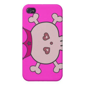 Cute Pink Cartoon Skull Princess & Crown iPhone 4/4S Case