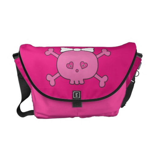 Cute Pink Cartoon Skull With Ribbon Commuter Bags