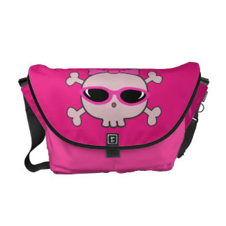Cute Pink Cartoon Skull With Sunglasses & Ribbon Commuter Bag