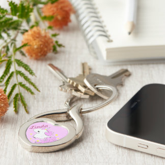Cute pink cartoon unicorn with stars Silver-Colored twisted heart key ring
