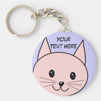 Cute Pink Cat Basic Round Button Key Ring