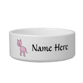 Cute Pink Cat Cartoon. Bowl