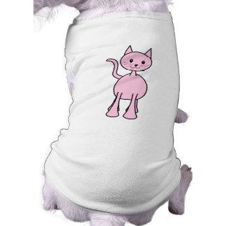 Cute Pink Cat Cartoon. Sleeveless Dog Shirt