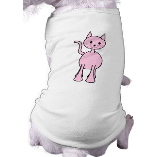 Cute Pink Cat Cartoon. Sleeveless Dog Shirt